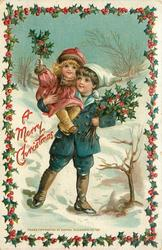A MERRY CHRISTMAS  boy carries girl on his shoulder, both hold holly