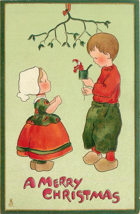A MERRY CHRISTMAS  boy shows girl jack-in-box, under mistletoe
