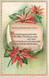 HAPPY CHRISTMAS-TIDE  THE WORLD CAN NE'ER GROW OLDER WHILE BLITHE CHRISTMAS COMES EACH YEAR,//HOLD ITS CUSTOMS DEAR