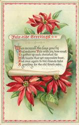 YULE-TIDE GREETINGS  WHEN WE RECALL THE DAYS GONE BY AND WELCOME YULE WITH JOY//GREETING FOR OLD TIME'S SAKE