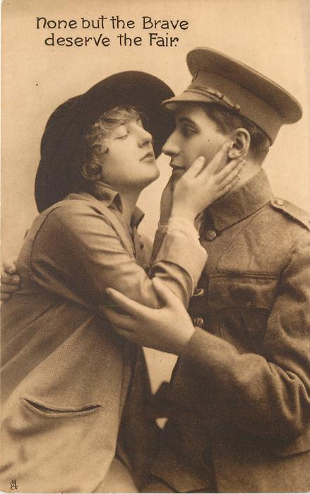 sweetheart caresses face of soldier in uniform, he embraces her