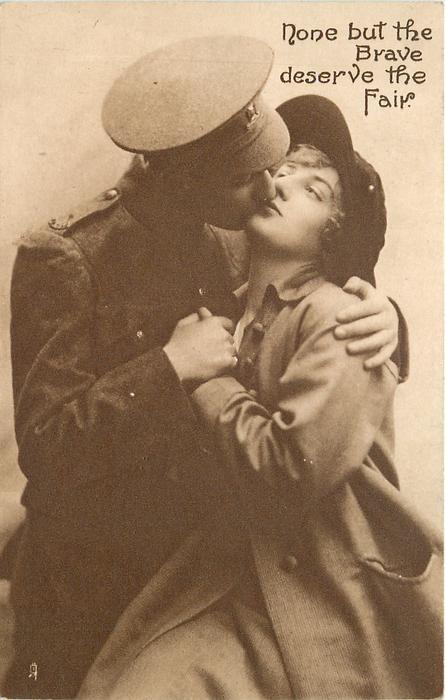 soldier in uniform & sweetheart kiss