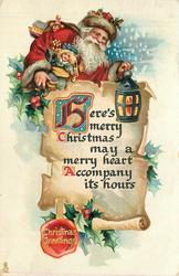 CHRISTMAS GREETING in seal  HERE'S MERRY CHRISTMAS MAY A MERRY HEART ACCOMPANY ITS HOURS