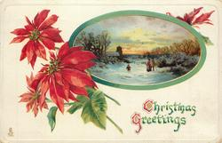 CHRISTMAS GREETINGS  inset two people & child in snow, church behind left