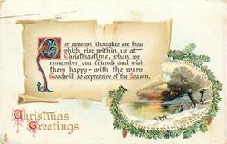 CHRISTMAS GREETINGS  OUR SWEETEST THOUGHTS ARE THOSE WHICH RISE WITHIN US AT CHRISTMASTIME, WHEN WE REMEMBER OUR FRIENDS// SEASON