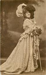 MISS GRACE LANE  full length costume pose, holding long cane