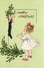 A MERRY CHRISTMAS  girl looking up at Christmas stocking with doll in top