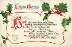 CHRISTMAS GREETINGS  HARK!  WHAT MEAN THOSE HOLY VOICES SWEETLY SOUNDING THROUGH THE SKIES?//'GLORY IN THE HIGHEST, GLORY! GLORY BE TO GOD MOST HIGH!