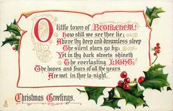 CHRISTMAS GREETINGS  O LITTLE TOWN OF BETHLEHEM! HOW STILL WE SEE THE LIE; ABOVE THY DEEP AND DREAMLESS SLEEP//ARE MET IN THEE TO-NIGHT