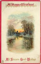 A HAPPY CHRISTMAS  ALL SINCERE GOOD WISHES  man in boat, many reflections on water, distant church
