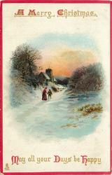 A MERRY CHRISTMAS    MAY ALL YOUR DAYS BE HAPPY  woman with small child stands in snow church behind