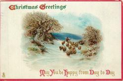 CHRISTMAS GREETINGS MAY YOU BE HAPPY FROM DAY TO DAY  man herds sheep front in snow