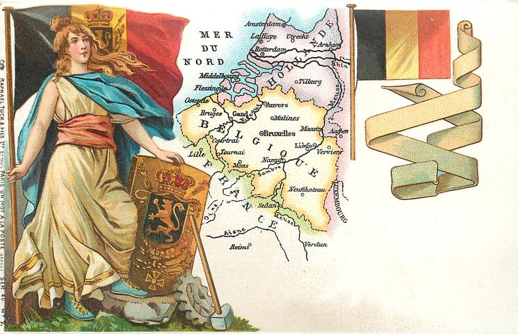 map, flag, crest & woman of Holland & Belgium
