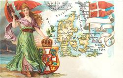 map, flag, crest & woman of Denmark