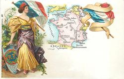 map, flag, crest & woman of France