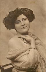 MISS HILDA HANBURY off shoulder dress, facing front looking right