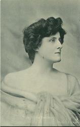 MISS HILDA HANBURY  off shoulder dress, facing front, looking left