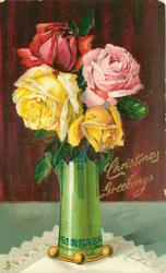 CHRISTMAS GREETINGS, one red, one pink & two yellow roses in green glass vase