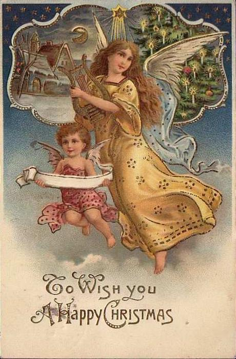 TO WISH YOU A HAPPY CHRISTMAS  angel in gold and cherub with scroll, inset of chuch & Xmas tree above
