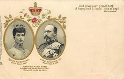 insets of QUEEN ALEXANDRA, & KING EDWARD VII  MARRIED MARCH 10 1863 ACCESSION, JANUARY 22, 1901. CROWNED JUNE 26 1902