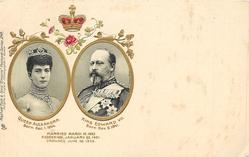 insets of QUEEN ALEXANDRA, & KING EDWARD VII  MARRIED MARCH 10 1863 ACCESSION, JANUARY 22, 1901. CROWNED JUNE 26 1902  no patriotic inscription
