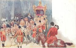 king & queen leaving westminster abbey after the coronation