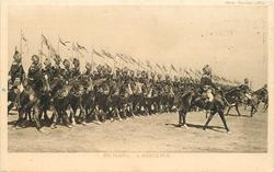 BENGAL LANCERS  line of riders walk right, preceeded by 3 mounted officers with swords