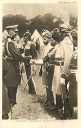 INDIAN TROOPS FOR FRANCE or EARL KITCHENER GREETS OUR INDIAN SOLDIERS