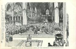 GENERAL VIEW OF WESTMINSTER ABBEY AT THE CEREMONY OF ENTHRONISATION inthronisation is  Fr. for Enthronement
