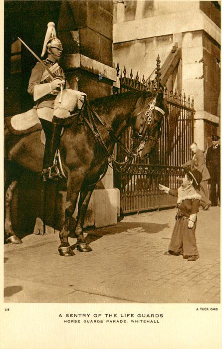 A SENTRY OF THE LIFE GUARDS, HORSE GUARDS PARADE, WHITEHALL