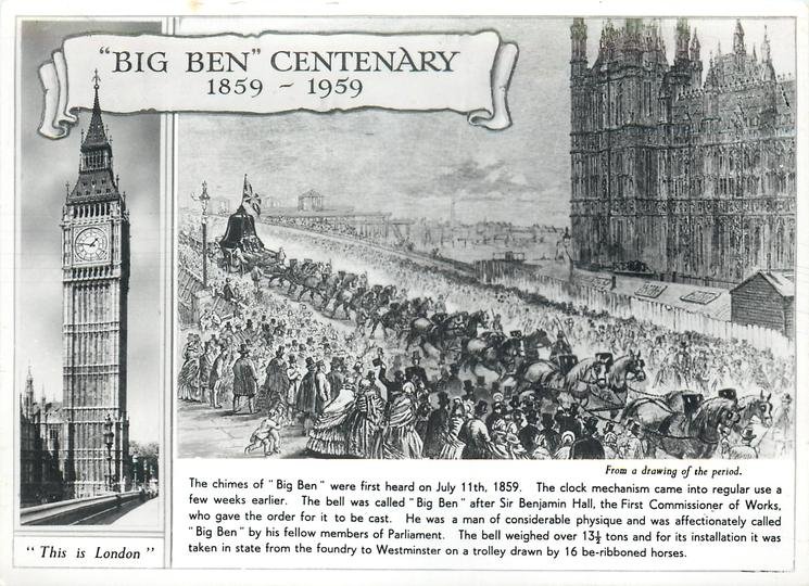 Big Ben Centenary 1859 1959 The Chimes Of Big Ben Were First