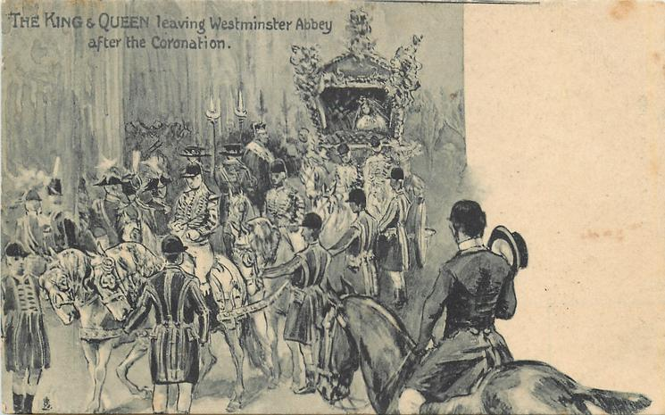 THE KING & QUEEN LEAVING WESTMINSTER ABBEY AFTER THE CORONATION