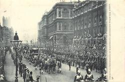 THE ROYAL PROCESSION IN WHITEHALL RETURNING FROM THE ABBEY