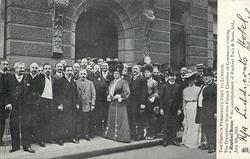 "THE DEPUTATION FROM THE FRENCH CHAMBER OF COMMERCE VISITING ""RAPHAEL HOUSE"" THE ESTABLISHMENT OF RAPHAEL TUCK & SONS LTD. JULY 8TH. 1903"