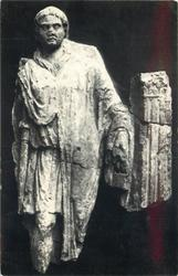 FIGURE OF ROMAN, ORIGINALLY FROM TOMB, FOUND IN FILLING OF CAMOMILE STREET BASTION OF CITY WALL
