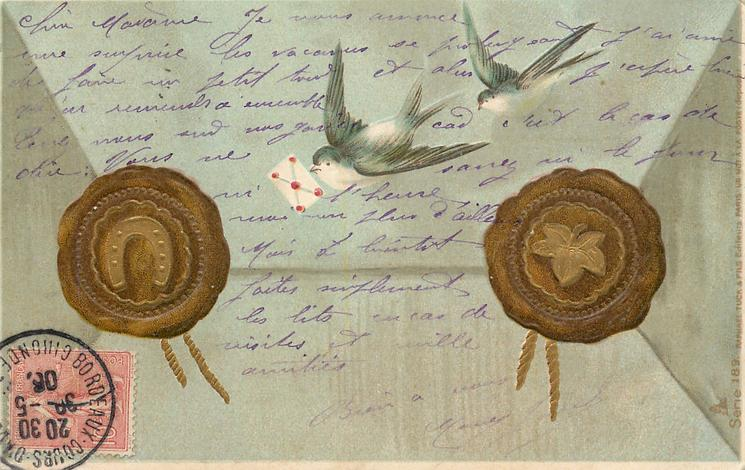 two swallows fly, one carries envelope, gilt seals either side