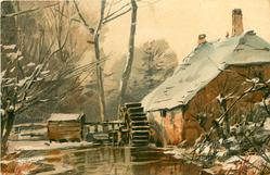 farmhouse with snowy roof, waterwheel left, water front