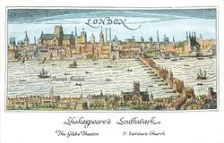 SHAKESPEARE'S SOUTHWARK  picture/map of medieval Southwark
