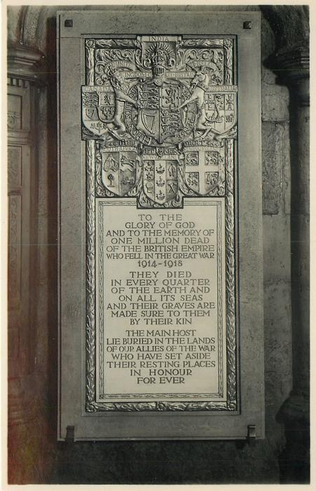 MEMORIAL TO THE MILLION DEAD IN THE HOLY CROSS CHAPEL