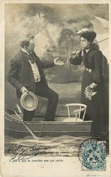 IL N'Y A QUE LE PREMIER PAS QUI COUTE, man beckons woman to enter boat