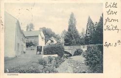LLANGORSE  village street, cart in road