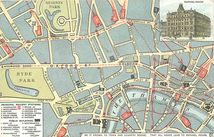 insert RAPHAEL HOUSE, map of London showing 12 sites of special interest