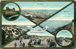 GREETINGS FROM MABLETHORPE  6 insets (2 circles) THE CHURCH and THE SANDS and THE SANDS HILL and ROUGH SEA and THE PROMENADE AND SANDS and HIGH STREET