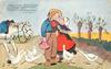 Dutch boy & girl stand in road about to kiss, four geese protest, horse observes