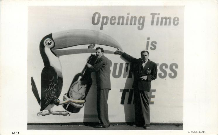 OPENING TIME IS GUINNESS TIME  two  men in front of poster