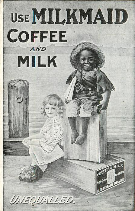black boy & white girl sit at dock on boxes marked COFFEE & MILK  MILKMAID BRAND