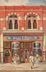 Decorated shop-front with much advertising 5 HIGH ST. KENSINGTON. LONDON. W.8