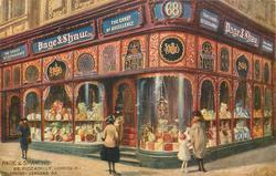 Decorated shop-front with much advertising 68 PICCADILLY, LONDON. W.1, TELEPHONE--GERRARD 56