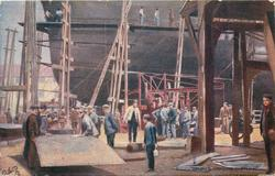 DRURY'S WORKING CLOTHES many men in working clothes on ship-building site, men's trouser advert