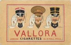 VALLORA CIGARETTES head & shoulder study of three military officers smoking a cigarette, all salute